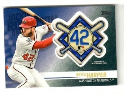 BRYCE HARPER 2018 Topps Update Baseball JACKIE ROBINSON PATCH #JRP-BH NATIONALS