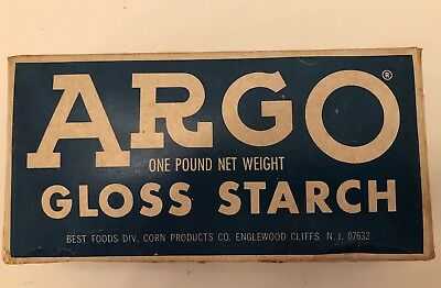 VINTAGE ARGO GLOSS LAUNDRY STARCH BLUE BOX ONE POUND  Detergent Blue Box
