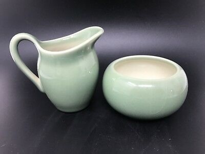 1954 Vintage Rookwood Pottery Glossy Green Creamer Small Pitcher & Sugar Bowl