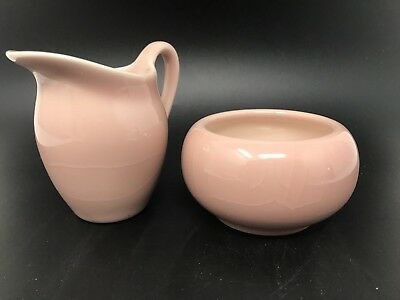 1954 Vintage Rookwood Pottery Glossy Pink Creamer Small Pitcher & Sugar Bowl