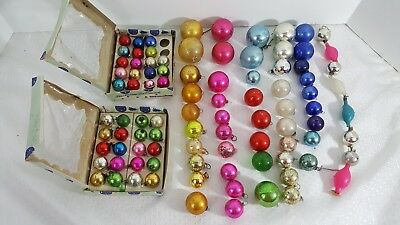 Vintage Lot 85 Christmas Glass Ornaments Feather Tree Garland Balls various size