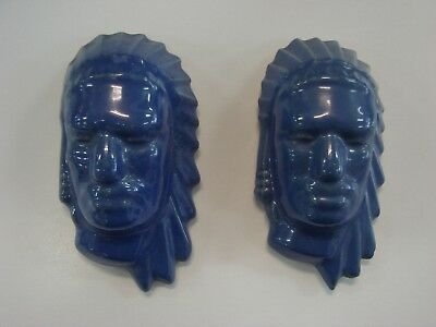 Frankoma Pottery 1940s PAIR Indian Royal Blue Medium Masks No 135B