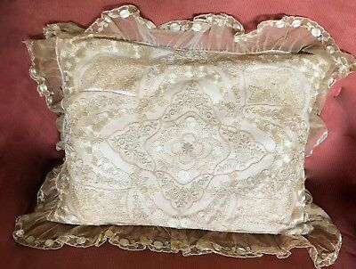 Antique Embroidered Net Lace French Tulle Bed Pillow Victorian As Is