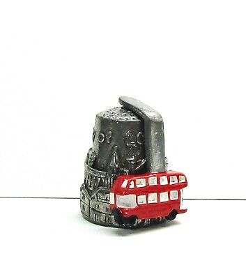 1983 Hi-Relief City Of London Pewter Thimble Bus Moves Round Thimble