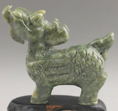 Chinese old natural jade hand-carved dragon statue NO.E1011