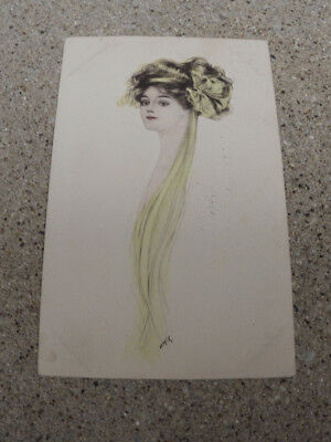 1910 Artist Signed Postcard Of Woman's Head