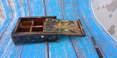Old Vintage Painted Wooden Hand Crafted Spice Box Original Tribal Storage Box