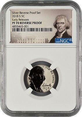2018 S Nickel REVERSE PROOF Early Releases NGC PF70 R.P. (POR)