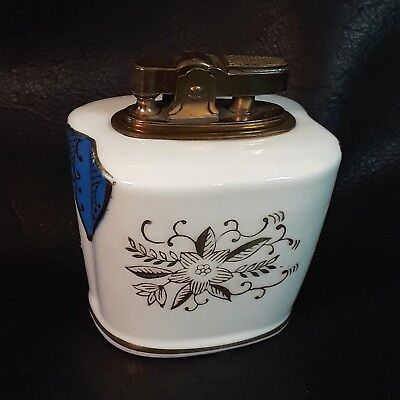 Vintage Hand Painted Bone China PAC Lighter Made Japan Gold Detail Needs Flint