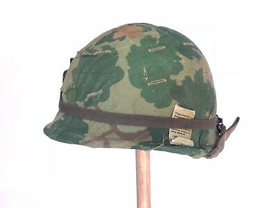 Vietnam M1 Helmet With 1969 Dated Camo Cover And Graffiti