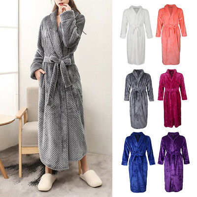 ad782ad662 LADIES MENS Towelling Bath ROBE SOFT COSY LONG WINTER FLEECE DRESSING GOWN