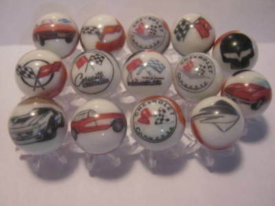 Chevy Chevrolet Corvette Glass Marbles lot with Stands 5/8 size