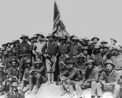 THEODORE 'TEDDY' ROOSEVELT Glossy 8x10 Photo Rough Riders at San Juan Hill Print