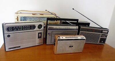 Vintage x 6 Transistor Radios For Spares/Repairs Including Philips, National,etc