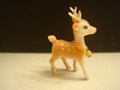 Vintage Soft Plastic Christmas Reindeer Animal Figure Made in Hong Kong