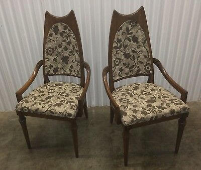 Set 0f Mid Century Modern Cane Back Dining Room Side Chairs Vintage Wormley Era