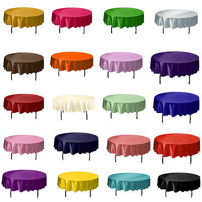 """57"""" Round Satin Tablecloth Cover Good Quality Wedding Party Banquet Home Decor"""