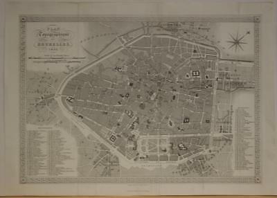 Brussels Bruxelles Belgium 1836 Shury & Son Antique Steel Engraved City Map