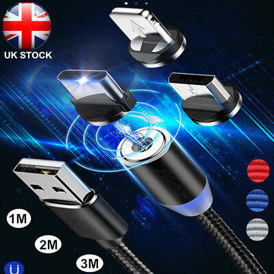 1~3M 360° Strong Magnetic Plug Charging Cable For iPhone Sumsung Fast Charger UK