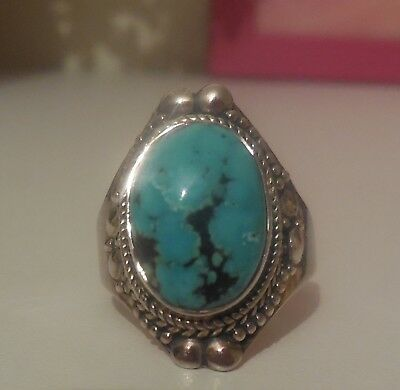 Bague turquoise et argent 925 taille 58 / Turquoise and 925 silver ring
