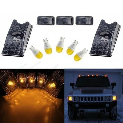 5Pc Smoke Roof Clearance Top Marker Light+Amber Ceramics LED for 03-09 Hummer H2