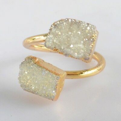 Size 5.5 Natural Agate Druzy Titanium AB Adjustable Ring Gold Plated T068603