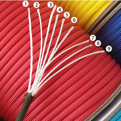 550 LB Mil Spec Type III 4mm Dia 9 Strand Paracord Parachute Cord Lanyard Rope