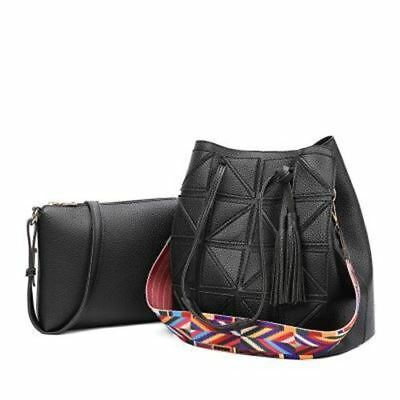 Women Patchwork Pattern Tassel Decorated Bucket Shape Top Handle Shoulder Bag