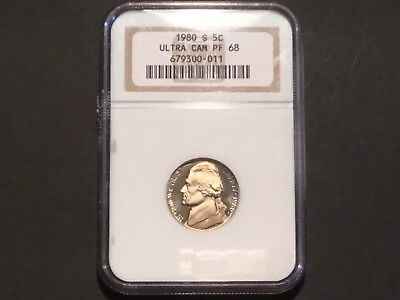 1980 US Jefferson Nickel. Slabbed.  Ultra Cam PF 68