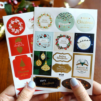 24 sheet Christmas Gold Gift Paper Stickers DIY Tags Gift Label Scrapbooking
