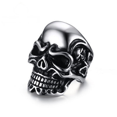 Fashion Punk Skull Size 7-12 Black Stainless Steel Mens Jewelry Cool Rings Gift
