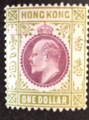 Hong Kong 1903/4 $1.00 Purple & Sage Green With Line Flaw Mint Hinged