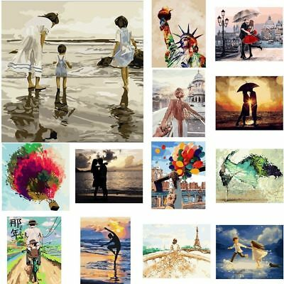 AU Frameless Paint by Numbers Kit DIY Canvas Oil Painting Romatic Couple Scenery