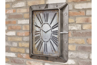 Industrial Wall Clock Metal Silver Grey Retro Distressed Brushed Steel Square