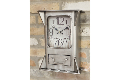 Industrial Wall Clock Metal Silver Grey Drawer Distressed Brushed Steel Square