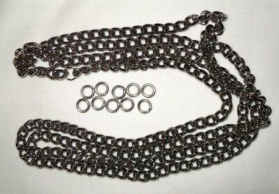 Nickel Plated  Mild Steel Curb Chain (1m) with 10 jump rings 5 links per inch