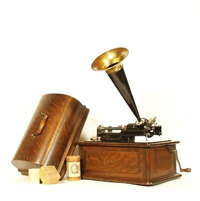 Near Mint 1905 Edison Triumph Phonograph w/Orig. Horn, Shaver, Reproducer In Box