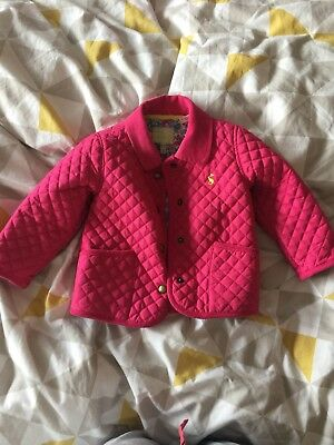 Joules Girls Pink Quilted Coat Aged 12-18 Months