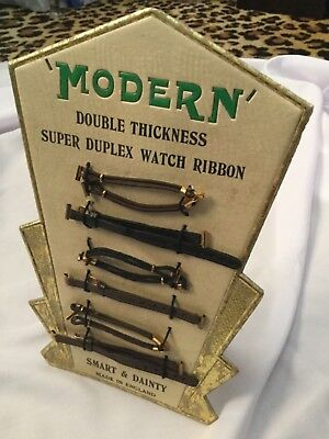 Art Deco Watch Display Stand Complete With Straps ...vintage Unused Deadstock,