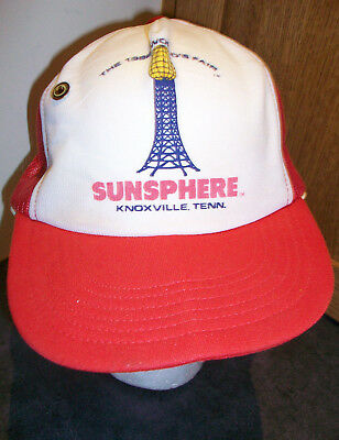 Vtg RARE 1982 World's Fair Sunsphere RED Trucker Hat Cap Knoxville, TN with Pin