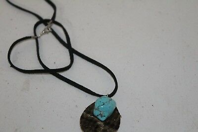 Rattlesnake hide teardrop necklace, with turquoise stone,   v287  .. , ...