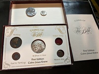 "Vintage ""Coins of the Bible"" Replica 5 coins w/box w/pamphlet incl. 2 Xtra coins"