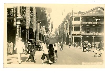 HONG KONG,QUEENS RD PHOTO SHOPS HAWKERS & TRAFFIC vintage postcard RPPC