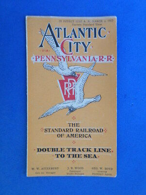 Antique 1907 Pennsylvania Railroad Atlantic City Nj Route Timetable Brochure Map