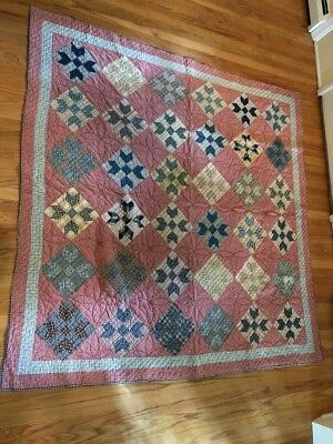 Antique Quilt with Mixed Red, White and Blue Gingham
