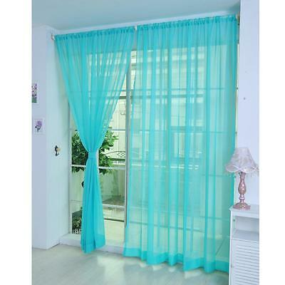 Blue Voile Sheer Curtain Panel Window Balcony Tulle Room Divider Valances New MT