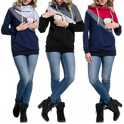 Blouse Tops Maternity Clothes Breastfeeding Hooded Pregnancy Autumn Plus Size