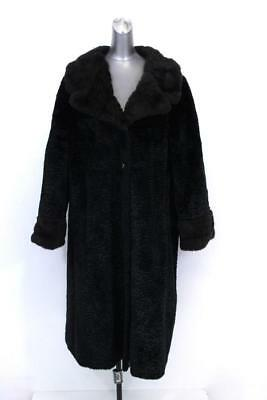 vintage womens black brown FAUX CURLY LAMB FUR dress coat formal occasion LARGE