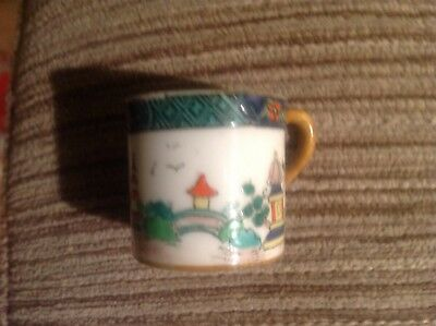 Crown staffordshire Miniature Coffee Can Decorated With Pagodas