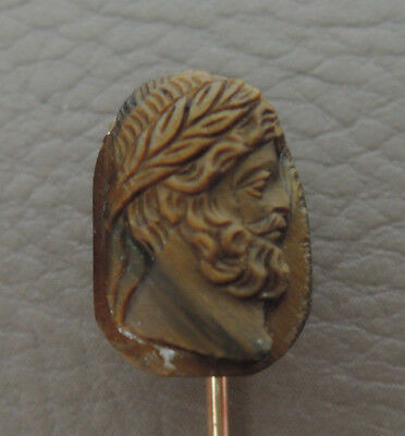 Epingle cravate or 18k pierre lune tete christ old tie pin gold